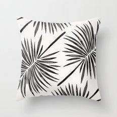Tropical Fan Palm – Black Throw Pillow