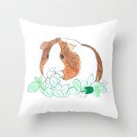 guinea pig Throw Pillows featuring Guinea Pig Clover by Elena O'Neill