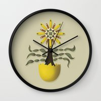 arya Wall Clocks featuring Flower Fingers by Hinal Arya