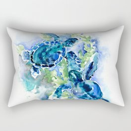Sea Turtle Turquoise Blue Beach Underwater Scene Green Blue design Rectangular Pillow