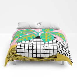 Get Real - potted plant throwback retro neon 1980s style art print minimal abstract grid lines shape Comforters