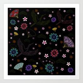 Black Japanese pattern kimono print Art Print