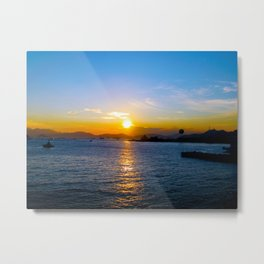 Sunset in Star Ferry Pier, Hong Kong Metal Print
