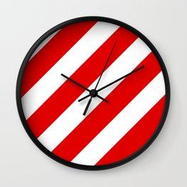 Stripes Diagonal Red & White Wall Clock