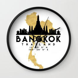 BANGKOK THAILAND SILHOUETTE SKYLINE MAP ART Wall Clock