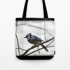 Winter Blue Jay Tote Bag
