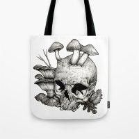 mushrooms Tote Bags featuring Mushrooms by Arnaud Gomet