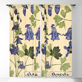 Maurice Verneuil - Ancolie - botanical poster Blackout Curtain