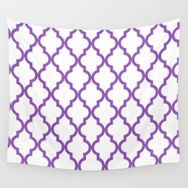 Moroccan Quatrefoil Pattern: Purple Wall Tapestry