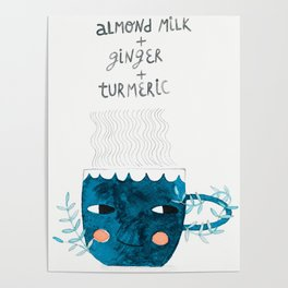 blue cup drink watercolor illustration Poster