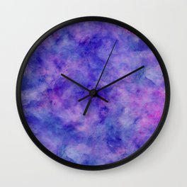 Purple Pink and Blue Bright Marble Watercolor Texture Wall Clock