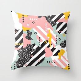 Spliced Geometric Memphis Pattern Geo Stripes Throw Pillow