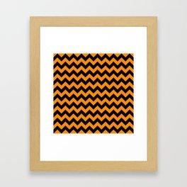 Large Black and Pumpkin Orange Halloween Chevron Stripes Framed Art Print