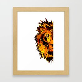 Watercolor Male Lion Half Face Framed Art Print