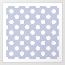 Light periwinkle - grey - White Polka Dots - Pois Pattern Art Print