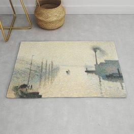 """Camille Pissarro """"L'Île Lacroix, Rouen (The Effect of Fog)"""" Rug"""