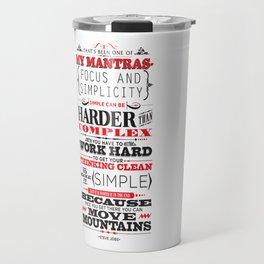 "Steve Jobs ""Focus and simplicity"" quote print Travel Mug"