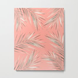 White Gold Palm Leaves on Coral Pink Metal Print