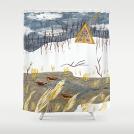 A-Frame Home in the Woods Shower Curtain