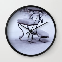 Concept Baden-Wurttemberg : Graveyard bench in snow Wall Clock