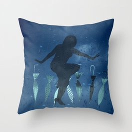 Brolly Boogie Blue's Throw Pillow