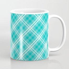 Aqua Blue & White Diagonal Plaid Scottish Clan McTiffany Coffee Mug