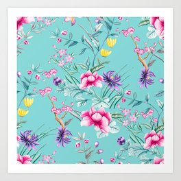 Chinoiserie Decorative Floral Motif Pale Turquoise Art Print