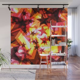 Bright glowing orange golden stars on a light background in the projection. Wall Mural