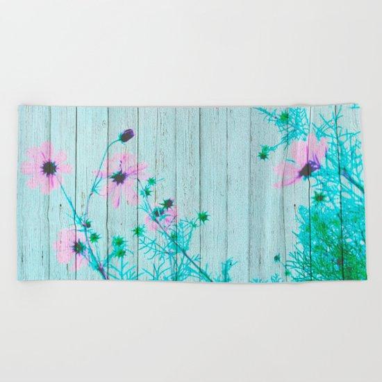 Sweet Flowers on Wood 03 Beach Towel