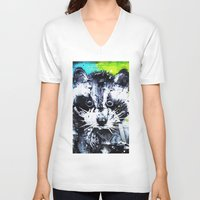 raccoon V-neck T-shirts featuring RACCOON by Maioriz Home