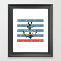 Maritime Design- Nautic Anchor on stripes in blue and red #Society6 Framed Art Print