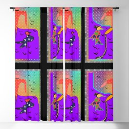 BIRDS AND THE ACROBAT Graphic Design Illustration Blackout Curtain