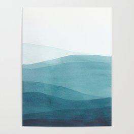 Watercolor Sea   Dip Dye Blues Poster