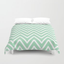 Chevron Wave Mint Duvet Cover