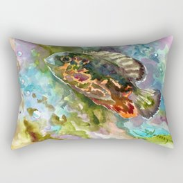 Oscar Fish, Aquarium Art, turquoise blue olive green fish underwater scene Rectangular Pillow