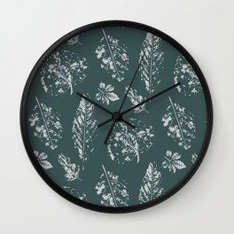 Autumn leaves stamp design Wall Clock