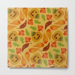 retro lovely jack-o-lantern pattern Metal Print