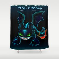 hiccup Shower Curtains featuring Alpha Toothless by Kapika Arts
