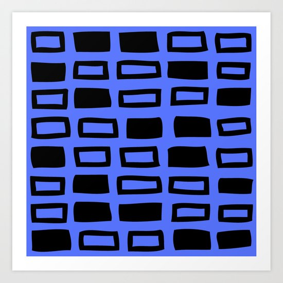 Mid Century Modern Abstract Squares Pattern 542 Black and Blue by tonymagner