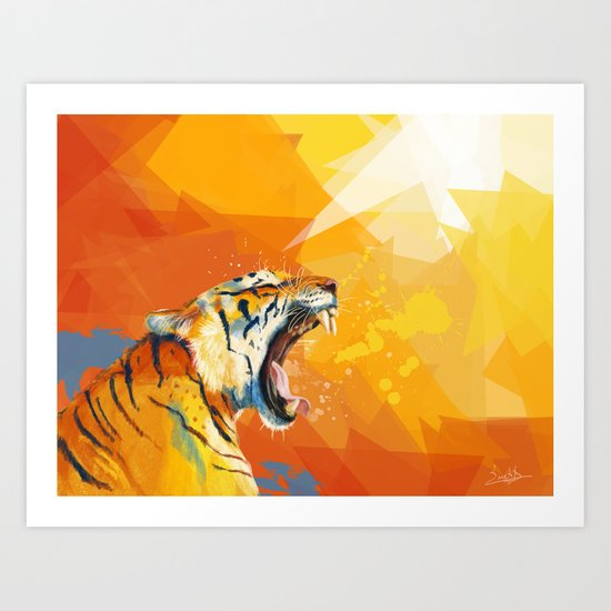 Tiger in the morning Art Print