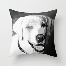 labrador retriever dog winking vector art black white Throw Pillow