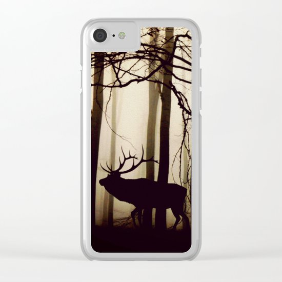 Forest night deer Clear iPhone Case