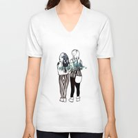 manchester V-neck T-shirts featuring Stripes in Manchester (fashion illustration) by Anca Pora