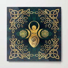 Triple Goddess with triskele - gold on shimmer green Metal Print