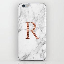 Monogram rose gold marble R iPhone Skin