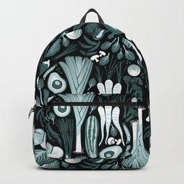 Go veggie // black background pine and mint vegetables Backpack