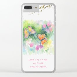 Butterflyes & Love quote Clear iPhone Case
