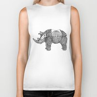 rhino Biker Tanks featuring Rhino by farah allegue