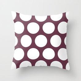 Large Polka Dots: Burgundy Throw Pillow