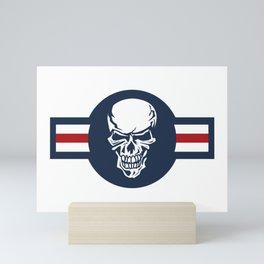 Military aircraft roundel emblem with skull illustration Mini Art Print